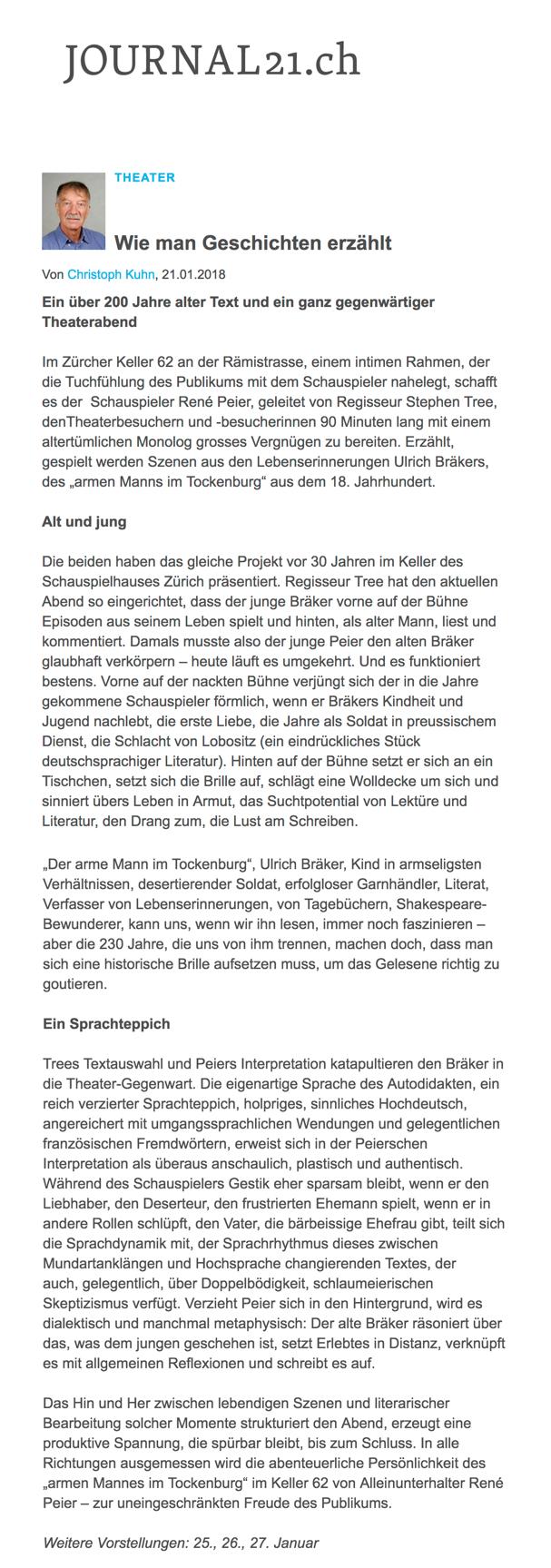 René Peier in 'Der arme Mann im Tockenburg' Keller62